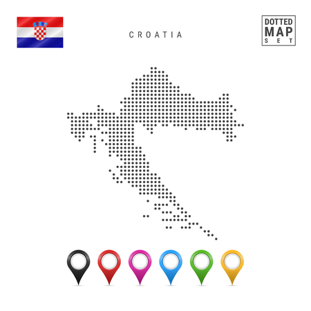 Dotted Map of Croatia. Simple Silhouette of Croatia. The National Flag of Croatia. Set of Multicolored Map Markers. Vector Illustration Isolated on White Background.