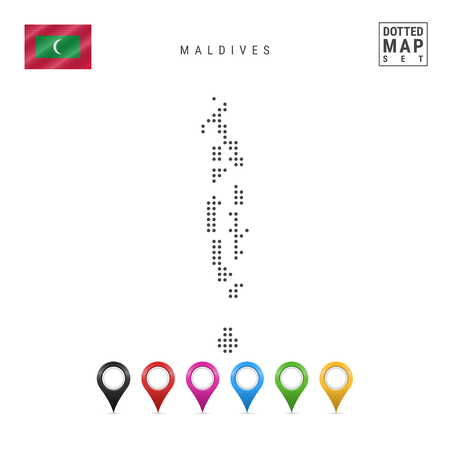 Dotted Map of Maldives. Simple Silhouette of Maldives. The National Flag of Maldives. Set of Multicolored Map Markers. Vector Illustration Isolated on White Background.