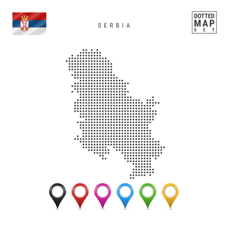 Dotted Map of Serbia. Simple Silhouette of Serbia. The National Flag of Serbia. Set of Multicolored Map Markers. Vector Illustration Isolated on White Background.