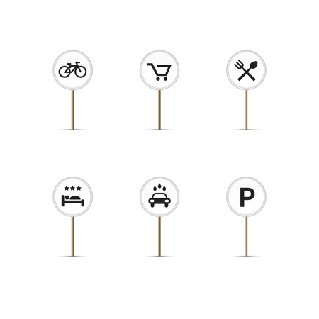 white round map pins with simple icons bike path cart food