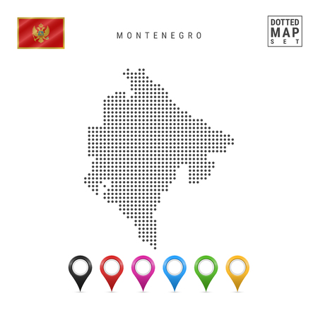 Dotted Map of Montenegro. Simple Silhouette of Montenegro. The National Flag of Montenegro. Set of Multicolored Map Markers. Vector Illustration Isolated on White Background.