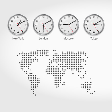 World Time Zones Clocks. Current Time in Famous Cities. Stock Exchange Clocks. New York, London, Moscow and Tokyo. Local Time Around the World. Dotted Map of the World. Vector Illustration