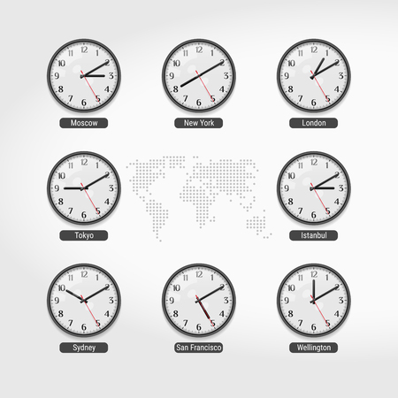 World Time Clocks. Current Time in Famous World Cities. Hotel or Stock Exchange Wall Clocks. Local Time Around the World. World Dotted Map on Background. Realistic Vector Illustration