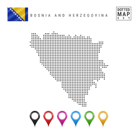 Dotted Map of Bosnia and Herzegovina. Simple Silhouette of Bosnia and Herzegovina. The National Flag of Bosnia and Herzegovina. Set of Multicolored Map Markers. Vector Illustration Isolated on White.