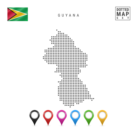 Dotted Map of Guyana. Simple Silhouette of Guyana. The National Flag of Guyana. Set of Multicolored Map Markers. Vector Illustration Isolated on White Background.