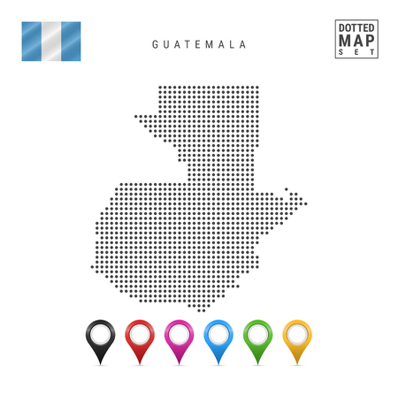 Dotted Map of Guatemala. Simple Silhouette of Guatemala. The National Flag of Guatemala. Set of Multicolored Map Markers. Vector Illustration Isolated on White Background. Vetores