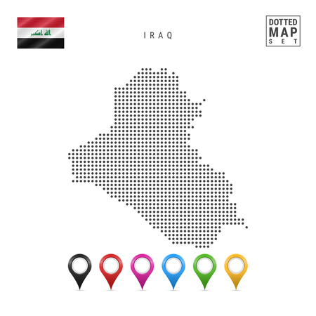 Dotted Map of Iraq. Simple Silhouette of Iraq. The National Flag of Iraq. Set of Multicolored Map Markers. Vector Illustration Isolated on White Background.