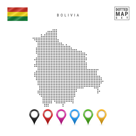 Dotted Map of Bolivia. Simple Silhouette of Bolivia. The National Flag of Bolivia. Set of Multicolored Map Markers. Vector Illustration Isolated on White Background.