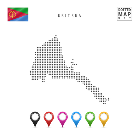 Dotted Map of Eritrea. Simple Silhouette of Eritrea. The National Flag of Eritrea. Set of Multicolored Map Markers. Vector Illustration Isolated on White Background. Vectores