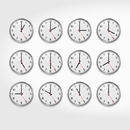 Horloges murales de bureau indiquant les heures de la journée. Horloge murale analogique à quartz ronde. Horloge de bureau moderne minimaliste. Cadran d'horloge avec chiffres arabes. Illustration vectorielle réaliste. Vecteurs