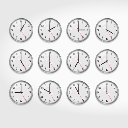 Office Wall Clocks Showing the Times of Day. Round Quartz Analog Wall Clock. Minimalistic Modern Office Clock. Clock Face with Arabic Numerals. Realistic Vector Illustration. Illustration