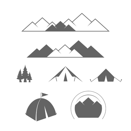 Camping, Outdoor or Mountain Adventure and Forest Expeditions. Alpine Tourism. Vector Design Elements Set for Web Design, Banners, Presentations or Business Cards, Flyers, Brochures and Posters. Illustration