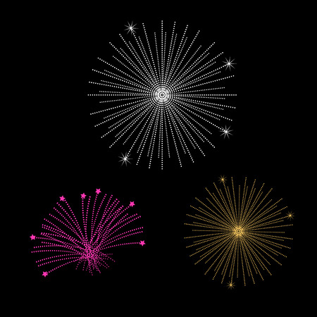 Fireworks Isolated on Black. Vector Design Elements Set for Web Design, Banners, Presentations or Business Cards, Flyers, Brochures and Posters. Illustration