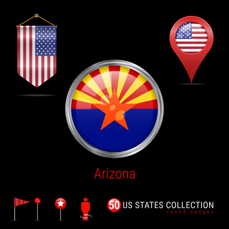 Round Silver Badge with Arizona US State Flag. Glossy Button Flag of Arizona. Round Icon of Arizona with Metal Frame. Pennant Flag of USA. Map Pointer - USA. Map Navigation Elements. Vector Art.