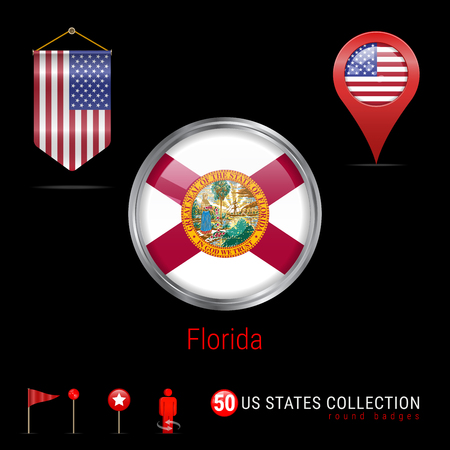 Round Silver Badge with Florida US State Flag. Glossy Button Flag of Florida. Round Icon of Florida with Metal Frame. Pennant Flag of USA. Map Pointer - USA. Map Navigation Elements. Vector Art.