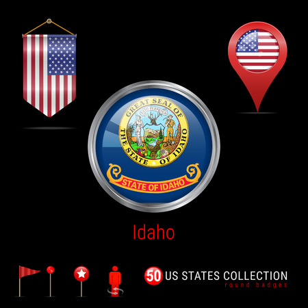 Round Silver Badge with Idaho US State Flag. Glossy Button Flag of Idaho. Round Icon of Idaho with Metal Frame. Pennant Flag of USA. Map Pointer - USA. Map Navigation Elements. Vector Art.