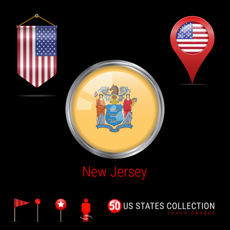 Round Vector Silver Badge with New Jersey US State Flag. Glossy Button Flag of New Jersey. Round Icon of New Jersey with Metal Frame. Pennant Flag of USA. Map Pointer - USA. Map Navigation Elements.