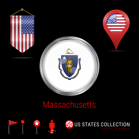 Round Silver Badge with Massachusetts Flag. Glossy Button Flag of Massachusetts. Round Icon of Massachusetts with Metal Frame. Pennant Flag of USA. Map Pointer - USA. Map Navigation Icons. Vector Art.