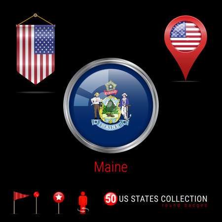 Round Silver Badge with Maine US State Flag. Glossy Button Flag of Maine. Round Icon of Maine with Metal Frame. Pennant Flag of USA. Map Pointer - USA. Map Navigation Elements. Vector Art.  イラスト・ベクター素材