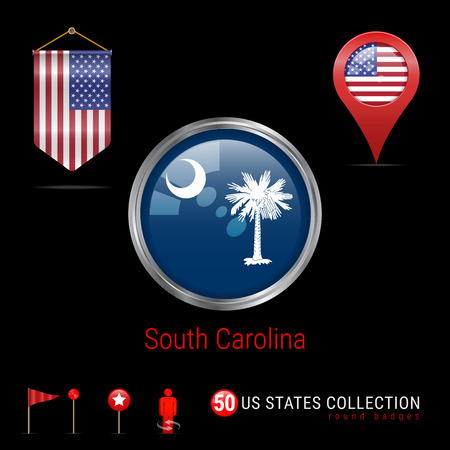 Round Badge with South Carolina US State Flag. Button Flag of South Carolina. Round Icon of South Carolina with Metal Frame. Pennant Flag of USA. Map Pointer - USA. Map Navigation Icons. Vector Art.