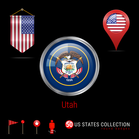 Round Silver Badge with Utah US State Flag. Glossy Button Flag of Utah. Round Icon of Utah with Metal Frame. Pennant Flag of USA. Map Pointer - USA. Map Navigation Elements. Vector Art.