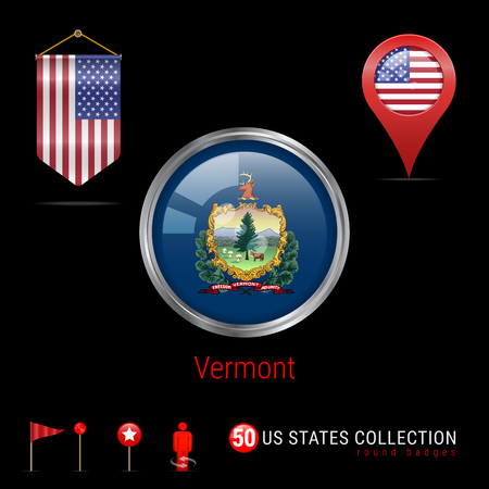 Round Silver Badge with Vermont US State Flag. Glossy Button Flag of Vermont. Round Icon of Vermont with Metal Frame. Pennant Flag of USA. Map Pointer - USA. Map Navigation Elements. Vector Art. Illustration