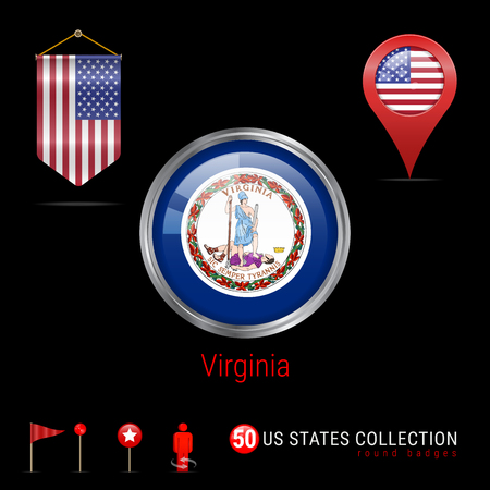 Round Silver Badge with Virginia US State Flag. Glossy Button Flag of Virginia. Round Icon of Virginia with Metal Frame. Pennant Flag of USA. Map Pointer - USA. Map Navigation Elements. Vector Art.