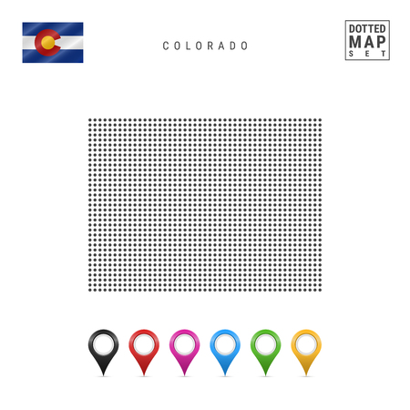 Dots Pattern Vector Map of Colorado. Stylized Simple Silhouette of Colorado. The Flag of the State of Colorado. Set of Multicolored Map Markers. Illustration Isolated on White Background. 向量圖像