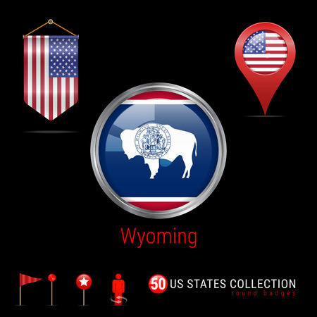 Round Silver Badge with Wyoming US State Flag. Glossy Button Flag of Wyoming. Round Icon of Wyoming with Metal Frame. Pennant Flag of USA. Map Pointer - USA. Map Navigation Elements. Vector Art. Illustration