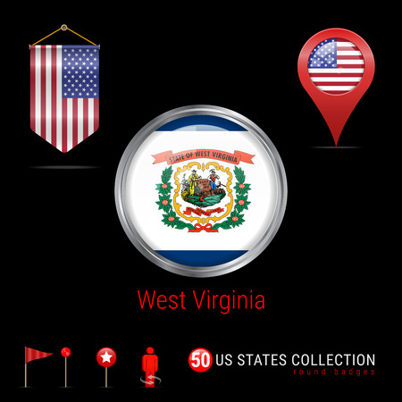 Round Badge with West Virginia US State Flag. Button Flag of West Virginia. Round Icon of West Virginia with Metal Frame. Pennant Flag of USA. Map Pointer - USA. Map Navigation Elements. Vector Art.