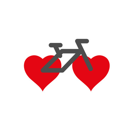 I Love My Bike Poster, Print or T-Shirt Design. Vector Illustration. Bicycle Icon with Wheels in the Form of Hearts