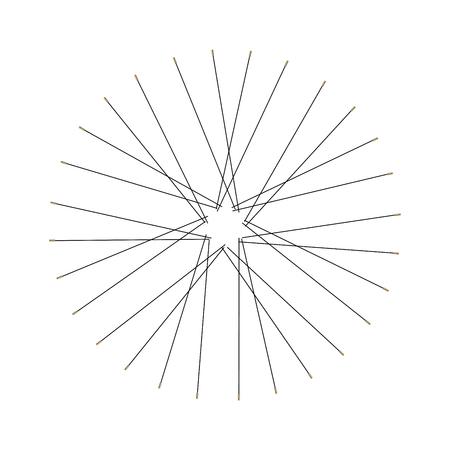 Silhouette de rayons de vélo ou de bicyclette. Illustration vectorielle monochrome, élément de conception.