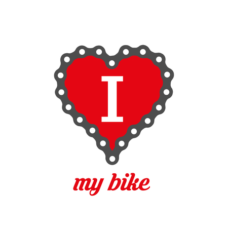 I Love My Bike Poster, Print or T-Shirt Design. Flat Vector Illustration. Heart Made of Bike or Bicycle Chain.