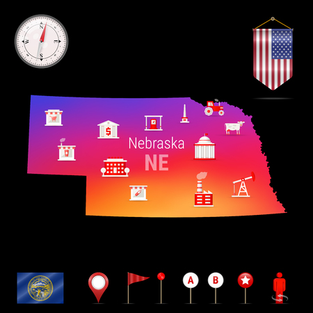 Nebraska Vector Map, Night View. Compass Icon, Map Navigation Elements. Pennant Flag of the United States. Vector Flag of Nebraska. Various Industries, Economic Geography Icons.