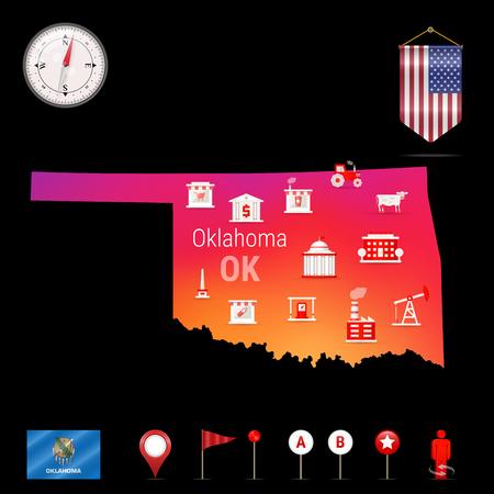 Oklahoma-Vektorkarte, Nachtansicht. Kompasssymbol, Kartennavigationselemente. Wimpelflagge der Vereinigten Staaten. Vektor-Flagge von Oklahoma. Verschiedene Branchen, Wirtschaftsgeographie-Symbole.