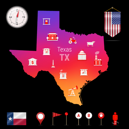 Texas Vector Map, Night View. Compass Icon, Map Navigation Elements ...