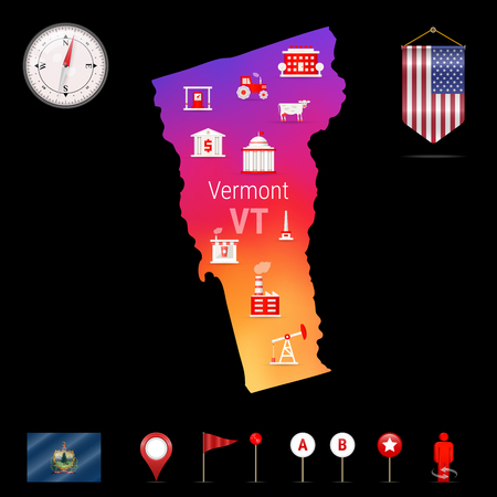 Vermont Vector Map, Night View. Compass Icon, Map Navigation Elements. Pennant Flag of the United States. Vector Flag of Vermont. Various Industries, Economic Geography Icons.
