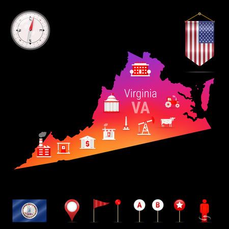 バージニアベクターマップ、ナイトビュー。コンパス アイコン、マップ ナビゲーション要素。アメリカ合衆国のペナント・フラッグ。バージニア州のベクトルフラグ。様々な産業、経済地理アイコン。