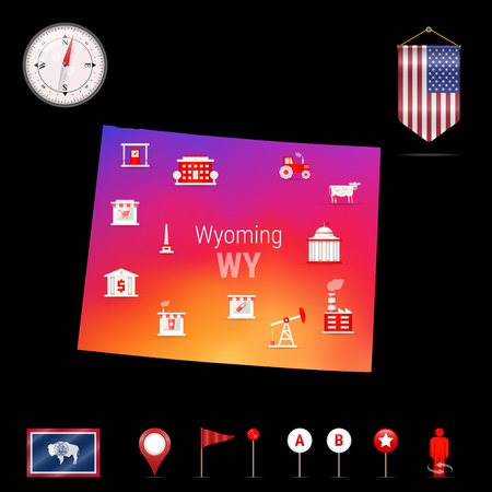 Wyoming Vector Map, Night View. Compass Icon, Map Navigation Elements. Pennant Flag of the United States. Vector Flag of Wyoming. Various Industries, Economic Geography Icons.  イラスト・ベクター素材