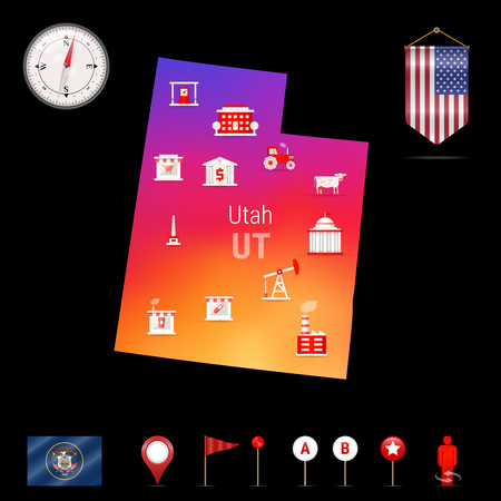 Utah Vector Map, Night View. Compass Icon, Map Navigation Elements. Pennant Flag of the United States. Vector Flag of Utah. Various Industries, Economic Geography Icons.