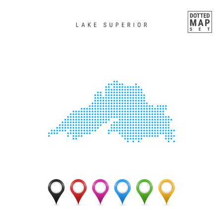 Dots Pattern Vector Map of Lake Superior. Stylized Simple Silhouette of Lake Superior. Set of Multicolored Map Markers. Illustration Isolated on White Background. Ilustrace