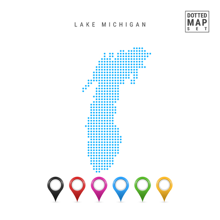 Dots Pattern Vector Map of Lake Michigan. Stylized Simple Silhouette of Lake Michigan. Set of Multicolored Map Markers. Illustration Isolated on White Background.