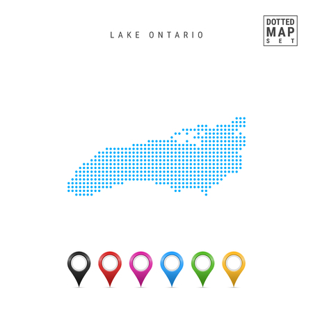 Dots Pattern Vector Map of Lake Ontario. Stylized Simple Silhouette of Lake Ontario. Set of Multicolored Map Markers. Illustration Isolated on White Background.
