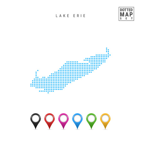 Dots Pattern Vector Map of Lake Erie. Stylized Simple Silhouette of Lake Erie. Set of Multicolored Map Markers. Illustration Isolated on White Background.