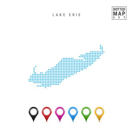 Pattern a punti mappa vettoriale del Lago Erie. Stilizzata semplice silhouette del lago Erie. Set di indicatori di mappa multicolore. Illustrazione isolati su sfondo bianco.