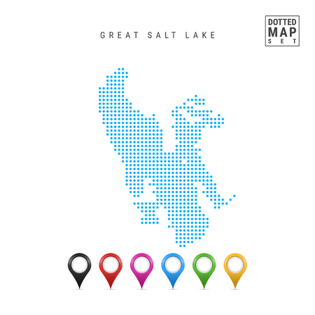 Dots Pattern Vector Map of Great Salt Lake, Utah. Stylized Simple Silhouette of Great Salt Lake. Set of Multicolored Map Markers. Illustration Isolated on White Background.