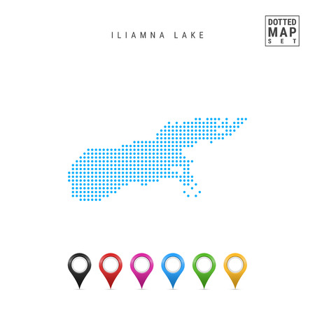 Dots Pattern Vector Map of Iliamna Lake, Alaska. Stylized Simple Silhouette of Iliamna Lake. Set of Multicolored Map Markers. Illustration Isolated on White Background.