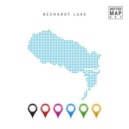 Dots Pattern Vector Map of Becharof Lake, Alaska. Stylized Simple Silhouette of Becharof Lake. Set of Multicolored Map Markers. Illustration Isolated on White Background. Vetores