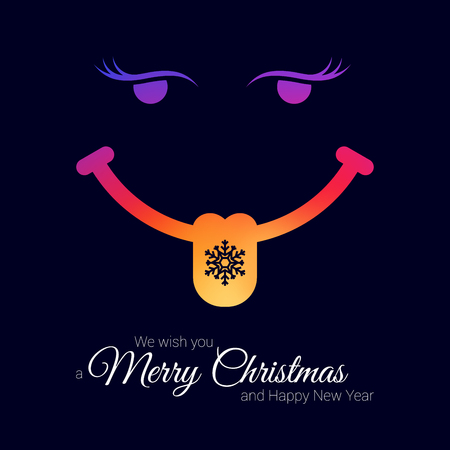 Smiling Face with Snowflake on Tongue. Vector Christmas Greeting Card Template. Merry Christmas, Happy New Year Concept. Resource for Creating Postcards, Calendars, Posters, Presentations or Banners.
