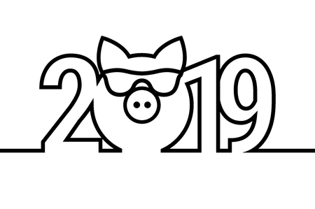 Pig Year 2019 Black and White Emblem. Vector Symbol. Merry Christmas and Happy New Year Design Elements. Resource for Creating Postcards, Calendars or Posters, Presentations or Banners.